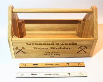 Personalised Happy Birthday Wooden Tool Box Dad Grandad Uncle Son Friend Family