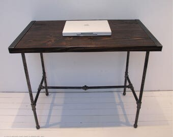 Reclaimed Wood Desk with Pipe Legs,Industrial Wood Desk, Wood Desk with Pipe Legs, Rustic Desk, Computer Desk