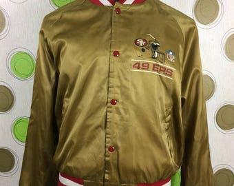 Vintage San Francisco 49ners Gold Satin NFL Bomber Jacket