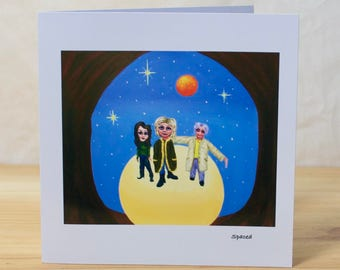 Spaced: Greeting card, Quality reproduction of an original painting, (Free Post anywhere in the UK).