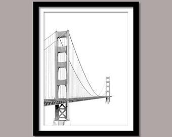 Golden Gate Bridge Print, Golden Gate Bridge Wall Decor,  Minimal Print, Landmark Printable Art,  Landmark Printable Poster, Black White,