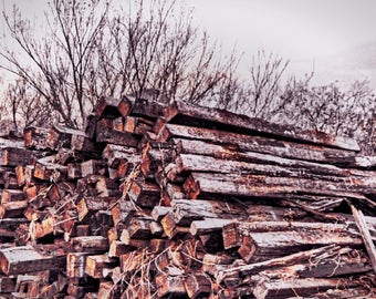Stacks of wood.
