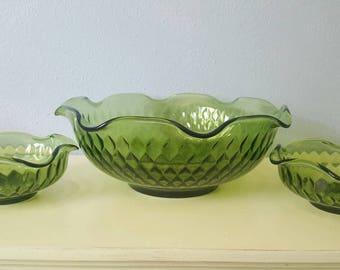Vintage Indiana glass avocado green salad set