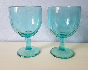 Indiana glass company Teal Goblets vintage goblets