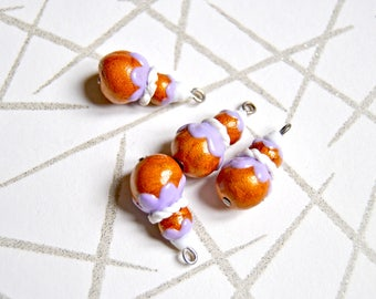 4 handmade polymer clay violet french puff pastry charms, size 20x10mm - miniature religieuse, handmade in france
