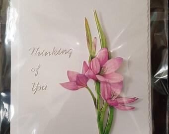 Handmade Decoupage Flowers Thinking of you Card