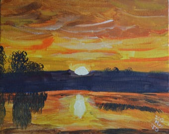 wall art, painting, sunset, sunrise, landscape,