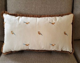 "So Pretty 22 x 14"" pillow cover - Bird embroidered ticking stripe with pleated ribbon trim"