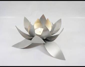 Candlestick. Metal candle holder. Flower candle holder. Tealight holder. Metal sculpture. Original gift.