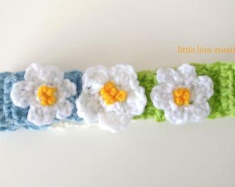 Flower headband headband, baby headband, crochet headband, handmade headband, girls headband, childs headband, pretty headband