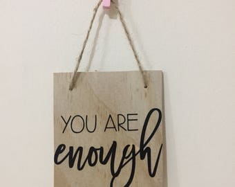 Mini wall banner, kids room, home decor, you are enough, inspirational quote