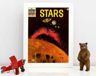 Stars Children's Science Book Cover Print - 1972