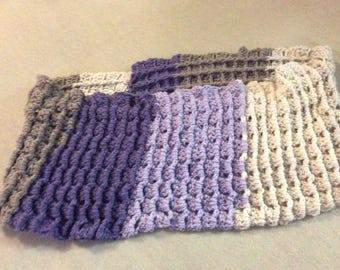 Purple cowl, waffle stitch