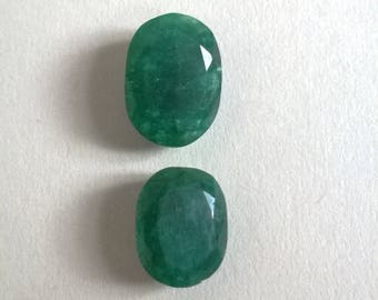 Genuine 100% natural emerald gemstones x 2