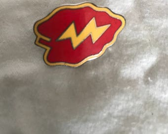 Vintage Red and Yellow Enameled Pin-back with Lightning Bolt Leaf
