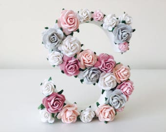 floral and flower letter // baby shower gift //christening gift // wedding gift // birthday gift // nursery decor // new baby gift //flowers