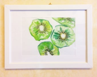 Green Kiwi-drawing on cardboard with mixed media-gift with white frame-Painted green kiwi