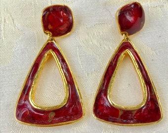 Beautiful Berebi Deep Red Enamel Pierced Earrings