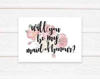 Will You Be My Maid Of Honour Printable, Wedding, Printable, Print
