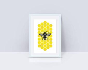 Bee Illustration Poster