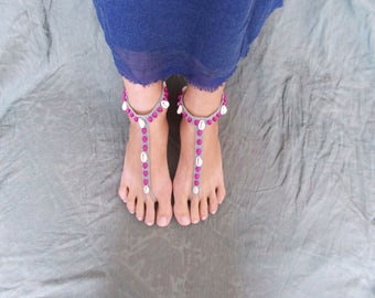 foot jewelry barefoot sandal, handmade anklet, footless sandal, beach wear, casual wear, valentine's gifts, crochet barefoot sandal,