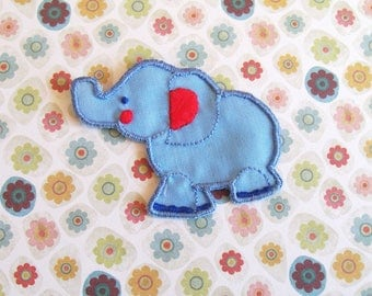 Blue Elephant Patch, Sew on Appliques, Circus Elephant Embroidered Patch, Animal Applique