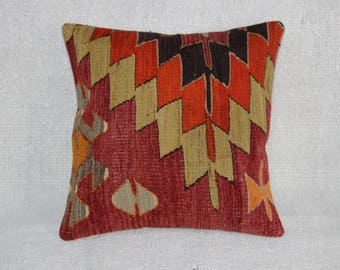 "Kilim Pillow Rustic Pillow,Vintage Pillow,16""x16""inches,40x40 cm"