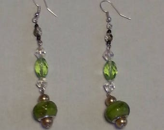 Green Pandora Earrings With Clear Swarovski Stones