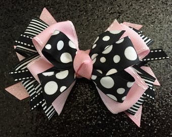 """Light Pink & Black 5"""" Bow with Gator Clip"""
