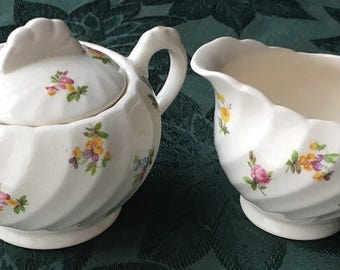 Vintage Royal Staffordshire Dimity Floral Clarice Cliff Creamer & Sugar Bowl