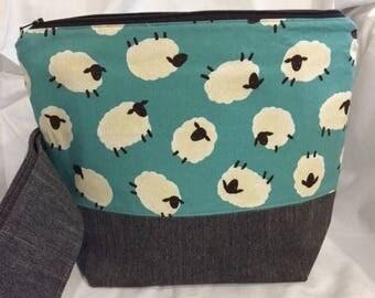 Knitting Crochet Project Bag, Medium Zipper