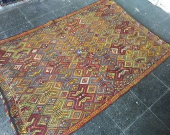 "Oushak Rug,Vintage Turkish kilim rug, 3'9""×5'6""ftArea rug, Home living, Fashion rug, stylish rug, Office decor,Turkish carpet, Vintage Rugs"