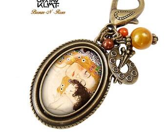 Bag charm mother and child Gustav Klimt retro jewelry