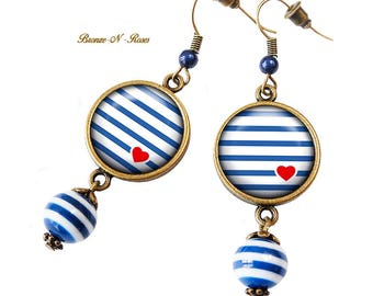 Earrings blue heart stripes sailor red cabochon