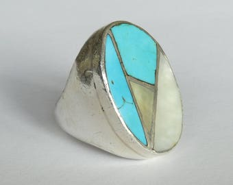 Vintage Heavy Cast Sterling Inlayed Navajo Man's Ring