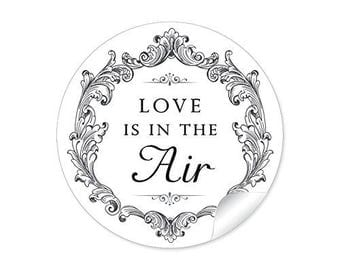 "24 STICKER: """" love is in the air ""nice labels in black white"""