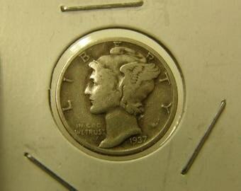 USA 1937 Silver Mercury Dime