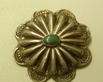 Antique Turquoise Sterling Silver Pin Back Brooch