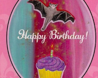 Happy Birthday card fruit bat
