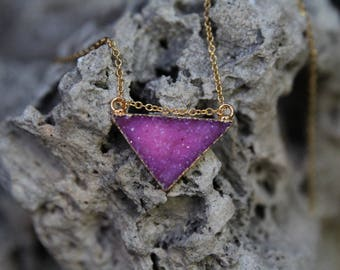 Pink/Purple 18K Gold Plated Triangle Druzy Pendant, Druzy Pendant, Druzy, Drusy, Gemstone Pendant, Triangle Connector.