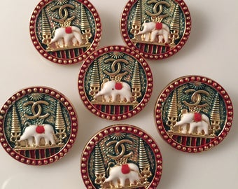 Sale - Set x 6 (25mm) Vintage Preowned Elephant Buttons Green and Red Metal Logo Design