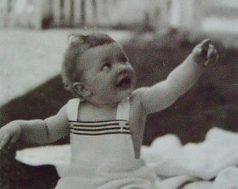 Romper Baby Summer Black White Photo Vintage 1950s Altered Art Supply Ephemera Snapshot Old Photo Collectibles #70-12