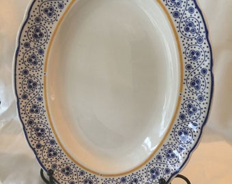 Pontesa Blue and White PTN3 Platter- 11.75 Inch x 9 Inch