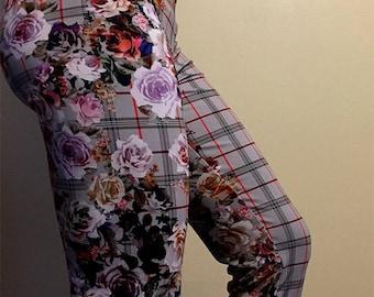 Floral Leggings, Floral Pants,Women Leggings,Colorful Leggings,Tight Pants,Fitted pants, Floral Yoga pants,Plaid leggings,Floral Print pants