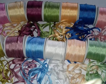 Silk Ribbon Collection 140 Metres. 4mm x 10 Metres Each
