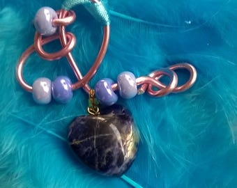 Mothers jewelry pendant, Sodalite stone in the shape of heart and beads