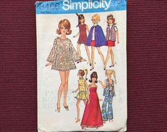 Simplicity 8466 Doll Wardrobe Pattern for Barbie, Other