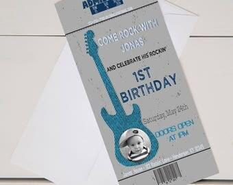 Rock N Roll Birthday Invitation-Printable-Digital-4x8-Rockstar