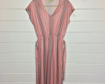 Vintage 1970s Pink Striped Day Dress / Matching Belt / Made by Ms. Sugar / V-Neck