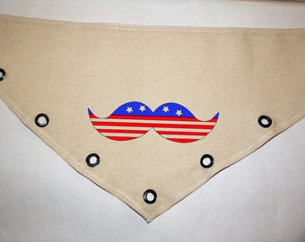 Fourth of July American USA patriotic grommet accent Canvas dog pet BANDANA flag mustache red white blue tie-front or over the collar!